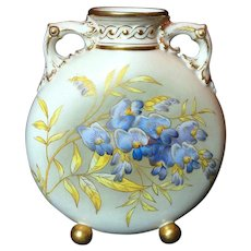 1890 Royal Worcester Vase Hand Painted Violets and Gold