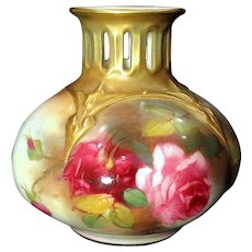 1907 Royal Worcester Cabinet Vase Hand Painted Roses