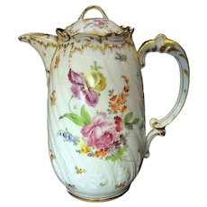 Antique Dresden Chocolate Pot Hand Painted Flowers and Gold
