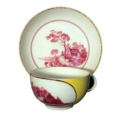 Circa 1760 Meissen Cup and Saucer Hand Painted Landscapes on Yellow Ground