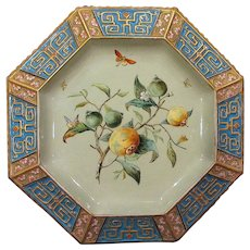 Circa 1870 Aesthetic Movement Copeland Tazza Raised Enamel Persimmons Butterflies Insects