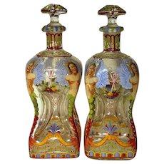 Pair of Rare Austrian Lobmeyr Enameled Art Glass Decanters Circa 1870