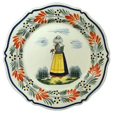 Vintage Hand Painted French Quimper Faience Plate