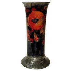 Tall Moorcroft Pomegranate Vase with Sheffield Pewter Base