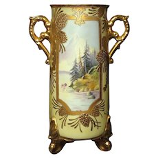 Gorgeous Nippon Vase Mount Fuji with Lake Scene Raised Gold Pinecones