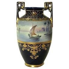 Cobalt Blue Nippon Vase Hand Painted Egyptian Nile Boat Scene Cleopatra's Barge