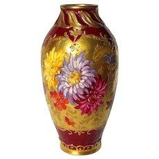 Gorgeous Antique Royal Bonn Hand Painted Art Nouveau Floral and Gold Vase