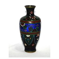 Japanese cloisonne (cloisonné) vase with ginbari elements