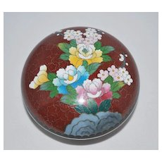 Japanese Inaba Cloisonne (Cloisonné) Round Lidded Box