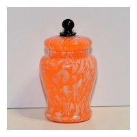 Bohemian Czech Glass Jar with Lid – Swirled Orange with Black Finial