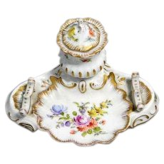 Hand Painted Porcelain Inkwell with Pen Rest
