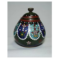 Japanese cloisonne (cloisonné) lidded pot with ginbari