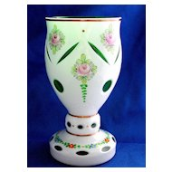Bohemian Czech white cut to green goblet