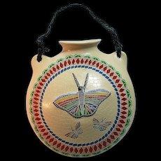 Mata Ortiz pottery -canteen with butterflies by Oscar Ramirez