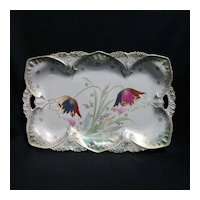 RS Prussia dresser tray – point and clover mold, stylized poppies
