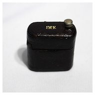 Leather covered traveling inkwell