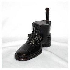 Figural metal inkwell – black shoe or boot