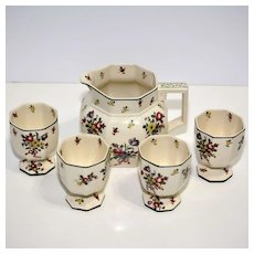 Royal Doulton Old Leeds Spray Pitcher and Four Cups