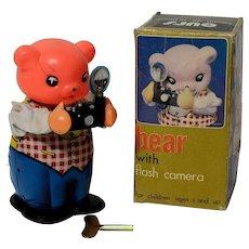 Bear with Flash Camera and Box