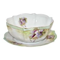 R.S. Germany bowl with under plate – Clematis décor