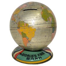Chein 1939 New York World's Fair Globe Tin Bank- Difficult to Find