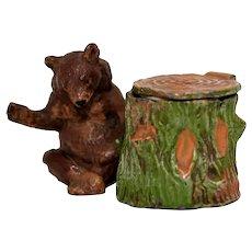 Figural Pot Metal Inkwell – Bear and Tree Stump