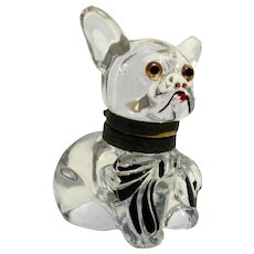 Czech Glass Bulldog Inkwell