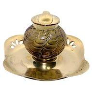 Iridescent Bohemian Art Glass Inkwell