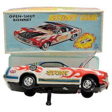TPS Mustang Battery Operated Open-Shut Bonnet Stunt Car- almost mint in box