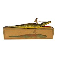 Chein No. 140 Tin Alligator with Native Windup and Box