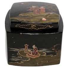 Lacquerware Inkwell with Painted Scenes