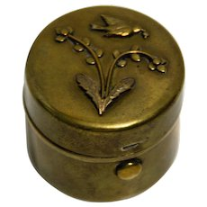 Brass Traveling Inkwell with Bird