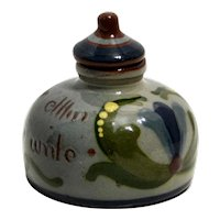 Torquay Pottery Motto Ware Inkwell with Lid
