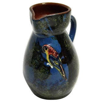Torquay Creamer or Syrup Pitcher with Applied Parrot