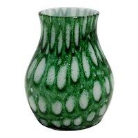 Small Aventurine Green Bohemian Czechoslovakia Glass Vase