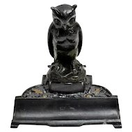 Figural German Metal Owl Inkstand