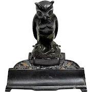 Figural German Metal Owl Inkstand
