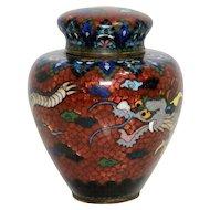 Japanese Cloisonné Gin Bari Dragon Ginger Jar