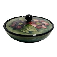 Moorcroft Covered Bowl with Clematis Pattern