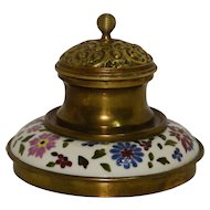Late Nineteenth Century Brass and Ceramic Inkwell