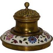 Late Nineteenth Century Brass and Ceramic Inkwell