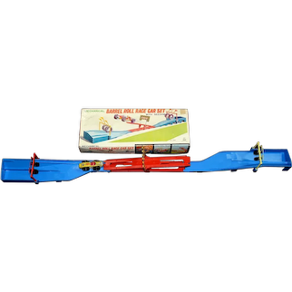 Scarce TPS Windup Barrel Roll Race Car Set with Seesaw and Box