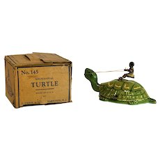 Chein No. 145 Tin Turtle Windup with Box-Earliest Version