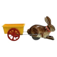 "Automatic Toy Company ""Hoppo"" the Mechanical Rabbit with Cart Windup"