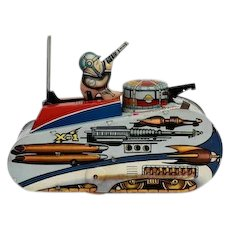 Tin Windup Rex Mars Planet Patrol Sparkling Tank by Marx with Replacement Key