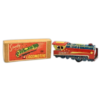 Sparky the Locomotive Tin Friction Toy by Modern Toys with Box