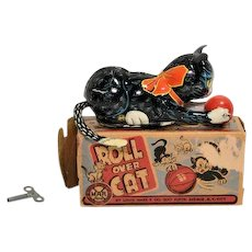 Marx Tin Windup Roll Over Cat with Key and Partial Box