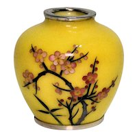 Small Japanese Cloisonné Vase, Yellow with Flowers