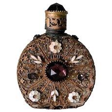 Czech Jeweled Perfume Bottle, Czechoslovakia Perfume
