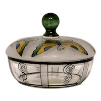Hand Painted Czechoslovakia Glass Covered Dresser Box with Butterflies
